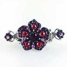 USA Hair Claw Clip Hairpin Rhinestone Crystal Vintage Barrette Flower Red A06