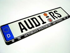 Brand New German Euro license plate AUDI RS with WOLFSBURG ABT-Tuning Frame