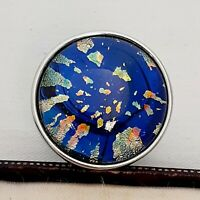 WOW Large Statement Vintage 1950s CZECH BLUE Glass Fire Opal Ring Size M