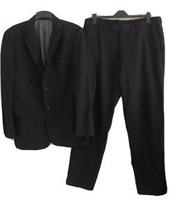 Mens HUGO BOSS Black Virgin Wool Pinstriped Suit. Size 56 IT (XXL). GUC