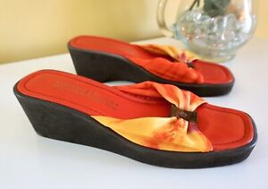 Donald Pliner Made on the Beaches of Spain Slide Sandals, Leather/Fabric, Red, 9