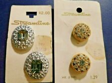 Vintage Streamline Buttons 2 Sets Of 2 Each Different Styles New On Cards