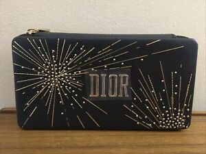 DIOR Beaute HAPPY Black Faux Leather Clutch Cosmetic Makeup Bag NEW