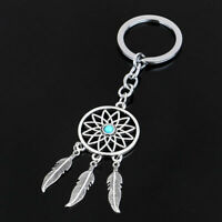 New Silver Keychain Feather Tassels Dream Catcher Keyring Key Chain Ring Gifts-
