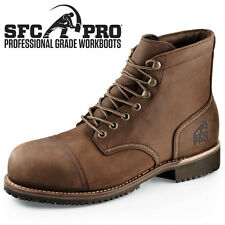 SFC Shoes For Crews Empire Brown Leather Unisex Boots 8183 Men's Sz 5.5 / 37.5