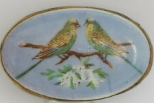 Edwardian Ceramic Budgerigar Brooch , metal frame