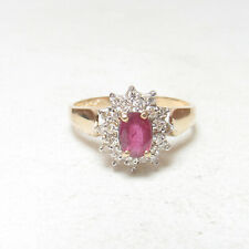 Estate 14K Yellow Gold 0.60 Ct Natural Oval Jam Ruby And Diamond Halo Ring