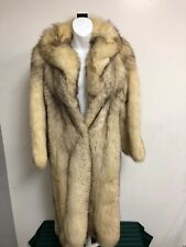 AUTHENTIC VINTAGE 1980s NORWEGIAN BLUE WHITE SILVER FOX FUR COAT WOMENS LUXURY