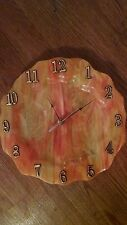 Gorgeous Swirling Orange Stained Glass Dinner Plate Size Clock -