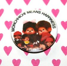 VINTAGE STYLE MONCHHICHI MEAN HAPPINESS CHICKABOO MONKEY BUTTON PIN BADGE