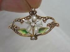 Enamel Diamond Pearl Flower Pendant Necklace 12K Gold Victorian Art Deco Wedding