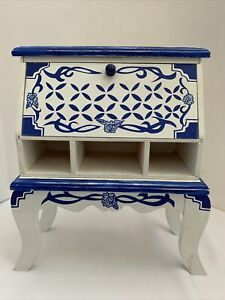 "Vintage 8 1/2"" Wood Doll House Miniature Blue White Hutch or Jewelry Trinket Box"