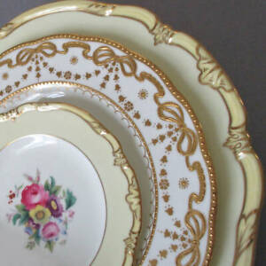 """3 Antique HP Porcelain 6-10"""" Plates FLOWERS + GILT BOWS * Crescent GEORGE JONES"""