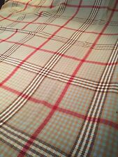 "VINTAGE HANDWOVEN TAN, RED, BLUE PLAID  71""x 82"" 100% WOOL BLANKET"
