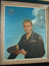 Large Vintage Portrait Painting Canvas WWII Army Air Corps Pilot Officer USAAF