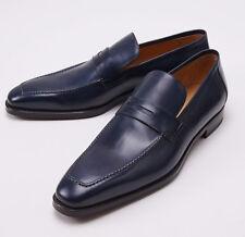 NIB $1050 SUTOR MANTELLASSI Navy Blue Calfskin Loafers US 17 D Dress Shoes