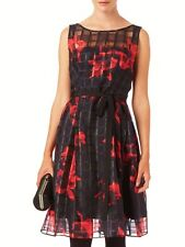 PHASE EIGHT MIMI RED BLACK SHEER CHIFFON 50'S FIT N FLARE DRESS 18 NWOT £140