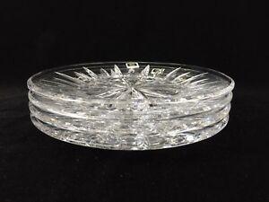 "Set of 4 Rogaska Crystal Starburst Luncheon Plates, 8"" Diameter"