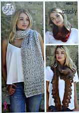 KNITTING PATTERN Womens Snood, Shawl & Scarf Indulge Chunky King Cole 4863