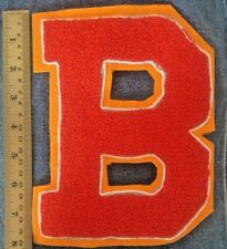 Chenille Patch Letter Initial B Orange Vintage Letterman Sew On Embroidered