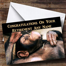 Relaxing Monkey Personalised Retirement Greetings Card