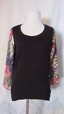 Nicole by Nicole Miller Women's Black Floral Contrast Sleeve Sweater Blouse Sz S
