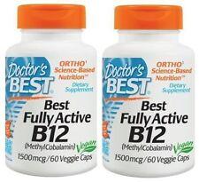 2 x B12 - MethylCobalamin, Best Fully Active, 1500 mcg, 60 VCaps(120 in Total)