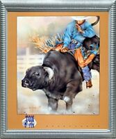 Western Cowboy Rodeo Bull Riding Wall Decor Silver Framed Picture Art Print