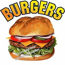 "Burgers Decal 24"" Hamburgers Restaurant Concession Food Truck Vinyl Sticker"