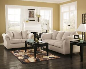 Ashley Furniture Darcy Stone Sofa and Loveseat Living Room Set
