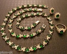 Boxed set green emerald +sim diamond 18k GOLD GF necklace bracelet ring earrings