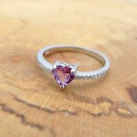 Amethyst Heart & CZ 925 Sterling Sliver Solitaire Ring Jewellery