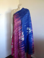Pink & Blue Batik Pure 100% Silk Fabric Hand Dyed 2m x 115cm