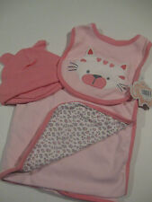 NWT Baby Girl First Moments Cat  3 Piece Blanket Gift Set