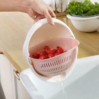 Plastic Vegetable Fruit Rice Washing Double Drain Strainer Basket Kitchen T3W7
