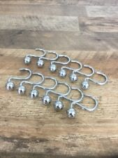 Set Of 12 Silver Round (Heavy Duty) Ball Shower Curtain Hooks Holders