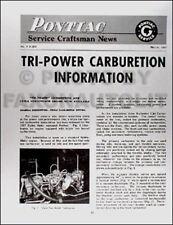 1957 Pontiac Tri Power Carburetor Service Manual 57 Rochester Triple Carburetion