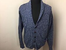 Orvis Shawl Collar Wool Blend Cardigan Button Marbled Blue Men Size M