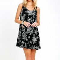 Lulu's sz Small Black White Embroidered Floral Swing Dress Sleeveless A-line
