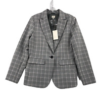 A New Day Women's Single Breasted Blazer 10 Gray Plaid Cotton Blend NWT