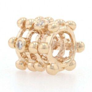Pandora Beautiful Catch Charm - 14k Yellow Gold Diamond Bead Authentic 750313D