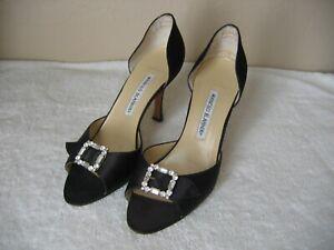 Auth Manolo Blahnik Pumps Open Toe Sandals Shoes Sz 38 Black