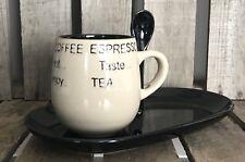 4 Mug/Cup Plate & Spoon Set Cream/Black Coffee Cappuccino Expresso Tea Kitchen