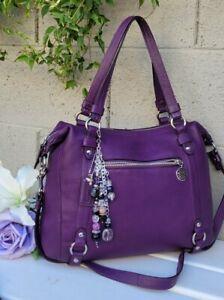 Coach Alexandra PURPLE pebbled leather satchel Shoulder tote bag purse17566