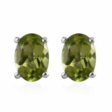 TJC Stud Earrings in Platinum Plated Sterling Silver for Women With Peridot