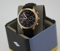 NEW AUTHENTIC FOSSIL PILOT 54 CHRONOGRAPH ROSE GOLD BLACK MEN'S BQ2283 WATCH