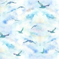 By the Sea Digital 12998-Seagulls BLU  3 Wishes Fabric Cotton Quilting Sewing