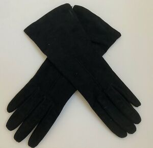 NWT COACH Women's Cashmere Lined Suede Gloves Black Size 8 Made In Italy
