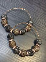"""Ladies  Gold Tone Giant crystal Bling Hoop Pierced Earrings 3"""""""