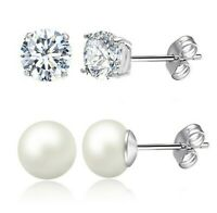 2 PACK Fresh Water Pearl Stud Earrings + Crystal Studs-18K White Gold ITALY